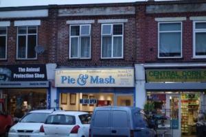 Pie & Mash shop in Blackfen Road, Jan. 2013