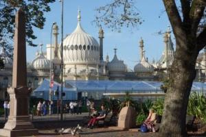Brighton Pavilion from Old Steine (2014). Leech's view probably would not have included the ice rink cafe!