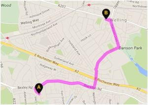 Travelling from Parish Gate Drive to Welling Railway in the real world, according to AA Route Planner