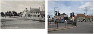 Blackfen Road at Westwood Lane junction, towards The Woodman, mid 1930s and 2010
