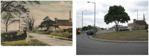 Chapel House in Blackfen Road c1900 (Penhill Road is on the left) and in 2010, now at a busy roundabout.