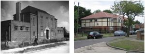 Blackfen Library in Cedar Grove in 1949, and the same view in 2010, now housing.